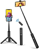 ATUMTEK Bluetooth Selfie Stick Stativ, Mini Erweiterbar 3 in 1 Selfie Stange aus Aluminium mit Kabelloser Fernbedienung...