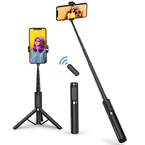 Atumtek Bluetooth Selfie Stick Stativ, Mini Erweiterbar 3 in 1 Selfie Stange aus Aluminium mit Kabelloser Fernbedienung um 360° Drehbar für iPhone 11/11 Pro/XS Max/XS/XR/X/8/7, Samsung Smartphones