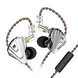 KZ ZSX IEM Auriculares Hibridos 5BA 1DD Audifonos KZ 5 Balanceados Armadura y 1 DIN¨¢Mica con Cable Desmontable de 0.75 mm 2pin(Negro con Mic)
