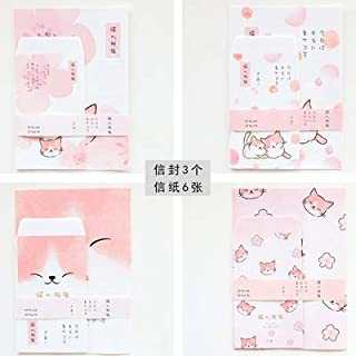 9 Pcs/Set 3 Envelopes + 6 Letter Papers A5 Sweet Kitten Cat Envelope Writing Paper Gift Stationery (Color : Random 1 Set)