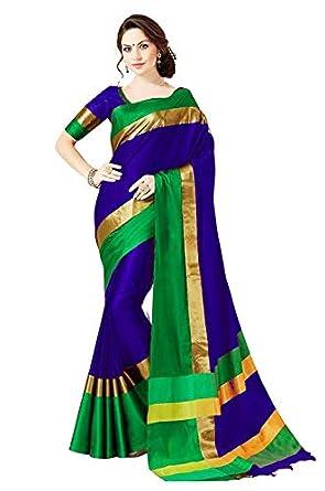 PERFECTBLUE Women`s Cotton Silk saree with Blouse Piece (RoyalBlue)