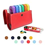 Pill Organizer,LIZIMANDU Weekly Travel Pill Case Box Medication Reminder Daily AM PM, Day Night 7 Compartments,for 4 Times A Day, 7 Days a Week-Includes Leather PU Carrying Case(1-Red)
