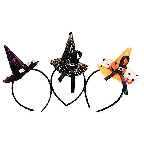 weimay disfraces de Halloween Mujer Diadema Sombrero de Brujas pelo Hoop Hairband de disfraces Cosplay Carnaval accesorios decoración, 3pcs