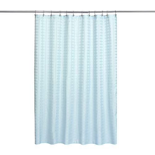 Duschvorhang aus Stoff, Hotelqualität, wasserabweisend & waschbar, 180,3 x 182,9 cm, Ziegel-Dobby-Muster für Badezimmer, Blau