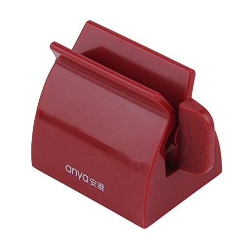 VANKER 2 en 1 Exprimidor de Tubo de Pasta de Accesorios de baño Titular de Cepillo de Dientes - Rojo Oscuro