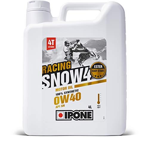 IPONE–Huile Moteur Moto neige 4 Temps 0W40 SNOW4 RACING–Bidon 4 Litres–Lubrifiant 100% Synthétique avec Esters–Très Haute Performance–Démarrage Rapide–Consommation Réduite–Usage Sportif et Compétition