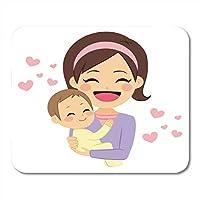 耐久性があるマウスパッド若いかわいい幸せな母親笑顔ノートブック、デスクトップコンピューターマウスマット、オフィス用品の素敵な赤ちゃんピンク耐久性があるマウスパッドを抱いて笑顔