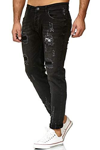 Red Bridge Herren Jeans Hose Regular-Fit Ripped Frayed Destroyed Schwarz W38 L34