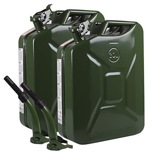 WALTER Benzinkanister-Set 20L mit flexiblem Einfüllstutzen/Trichter aus Metall, 2 Stück, Kraftstoff-Kanister, grün, Sicherheitsverschluss
