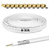 HB-DIGITAL 25m Cable Coaxial HQ-135 Cable de Antena 135dB Cable SAT 8K 4K UHD 4 Veces Apantallado Para Sistemas DVB-S / S2 DVB-C / C2 DVB-T / T2 DAB+ Radio BK + 10 F-Plug GRATIS