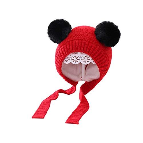 LAMUCH Bonnet d'hiver en crochet pour enfant avec double pompons, doublure en peluche épaisse, chaude et cache-oreilles de 1 à 4 ans - Rouge - 55/58 cm