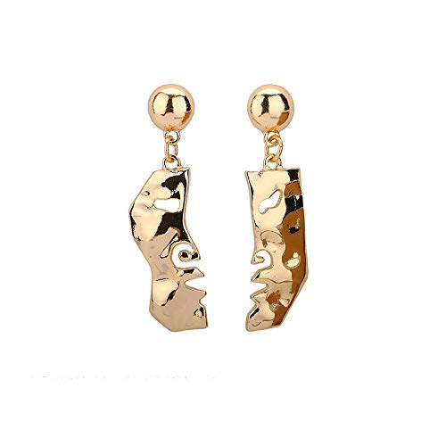 DFDLNL Pendientes para Mujer Conjuntos de Aros Pendientes de Arte Abstracto Pendientes de señora Sra. Pendientes de Oro Retro Expresiones locas Pendientes de botón Pendiente de MujerDorado I