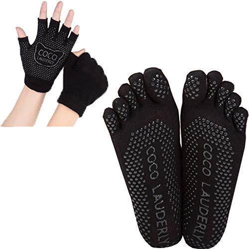 Calcetines y Yoga juegos de guantes con puntos de Antideslizantes Silicona para cualquier tipo de Yoga Pilates Ballet Barre para mujeres (Guantes + Calcetines, Negro)