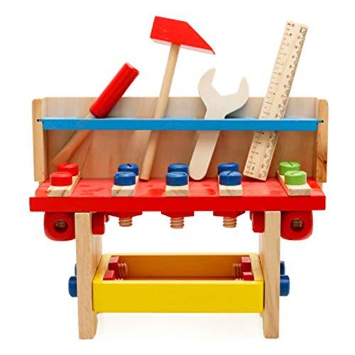 Banco de Herramientas para Niños Herramienta de madera Workbench Taller Bench Workshop Set Pretend Carpenters Play con caja de herramientas Mesa de actividad Construcción de juguetes de construcción p