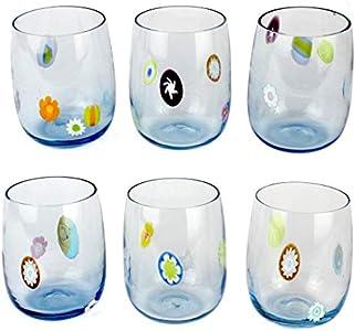 Juego de 6 vasos de cristal de Murano original OMG