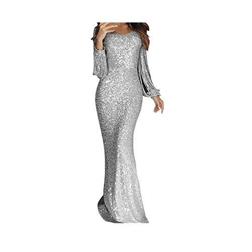 Vestido de noche de lentejuelas para mujer, vestido largo de baile, vestido de novia, vestido de cumpleaños, vestido de cóctel, vestido de sirena, vestido de fiesta para mujer medium plata