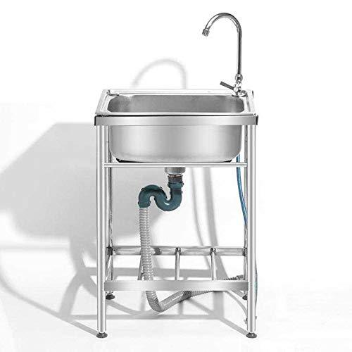 Fregadero para el hogar, Cocina de Acero Inoxidable, lavaplatos de un Solo Recipiente, Belfast, Multiusos con Soporte y Grifo, Apto para baño, sótano, garajePackage A-48×35cm