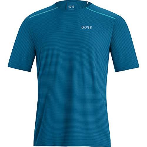 GORE WEAR Camiseta de manga corta de running Contest para hombre, L, Azul cobalto/Gris turquesa