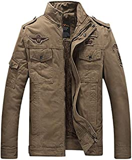 L'monte Imported Jacket for Men Winter Camouflage Military Design Army Style Cotton Casual Slim Fit Stand Collar Coat Latest Fashion (8333 Khaki)