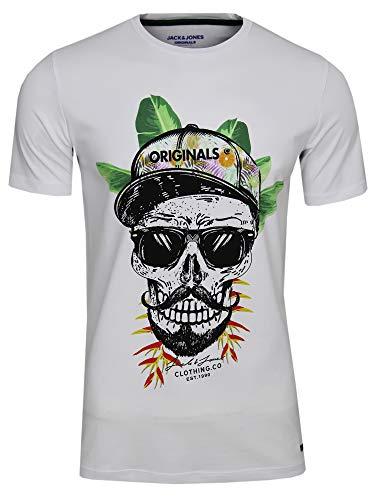 JACK & JONES Camiseta de manga corta para hombre, cuello redondo, con diseño de calavera y flores, estilo hipster Blanco (White Fit: Slim Fruit). L