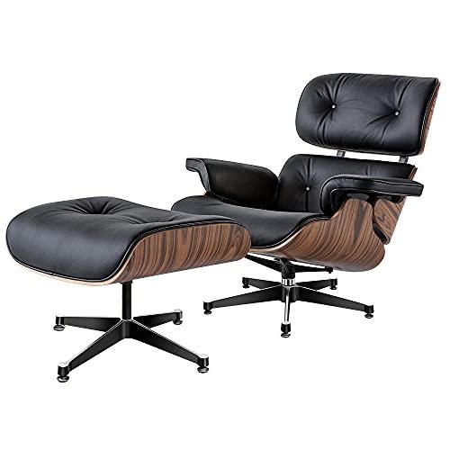 Armchair with Ottoman stressless Sessel relaxsessel,Mitte des Jahrhunderts Sessel Liegestuhl mit echtem Leder, Moderne Liege für Schlafzimmer, Wohnzimmer, Lounge-Büro oein (schwarz)