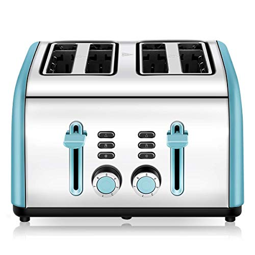 Toaster 4 Slice, CUSINAID 4 Wide Slots Stainless Steel Toasters with Reheat Defrost Cancel Function,...