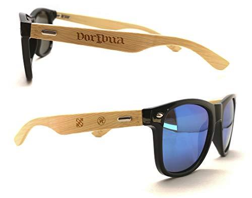 Heimatstolz Sonnenbrille Bambus-Bügel mit Laser-Gravur- Bayern Wappen und urigen Sprüchen - Polarisierte Gläßer mit UV Schutz 400 (Dorfbua)