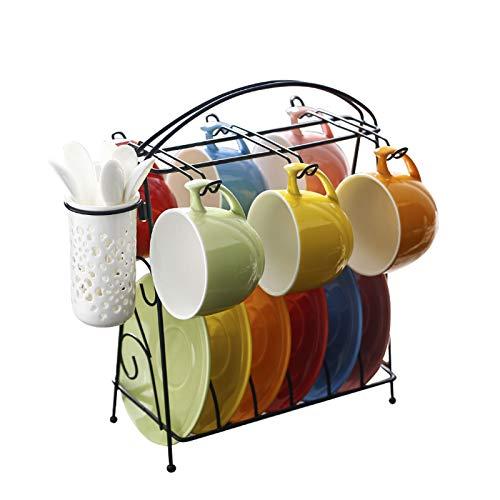 Taza de café Rainbow Color Cerámica Coffee Tea Tea Conjunto de Taza de Latte de Colores Brillantes, Taza de té, platillo y cucharadita (acomodando a 6 Personas), con Soporte Taza de té