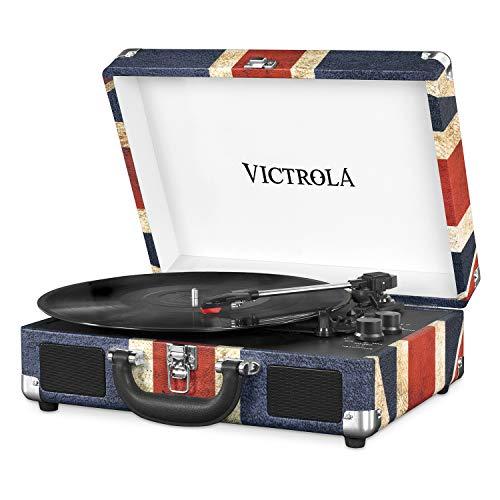 Victrola Suitcase, Tocadiscos Portátil Bluetooth 3 Velocidades, Uk Flag