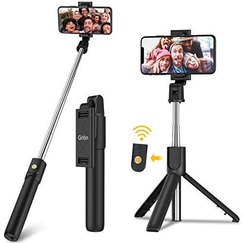 Bluetooth Selfie Stick Stativ, Gritin 3 in 1 Erweiterbar Selfiestick Monopod Selfie-Stange mit Bluetooth-Fernauslöse, Tragbar Monopod Handyhalter mit Tragtasche für 4,7 bis 6,5 Zoll Smartphones