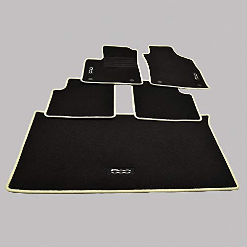 Mattenprofis Velours Fußmatten + Kofferraum Set für FIAT 500 + 500 C Cabrio ab Bj 2013 Crema