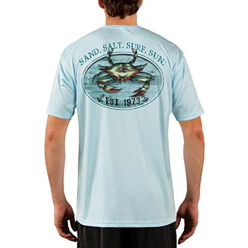 SAND.SALT.SURF.SUN. Crab Men's UPF 50+ UV Sun Protection Performance Short Sleeve T-Shirt Large Arctic Blue