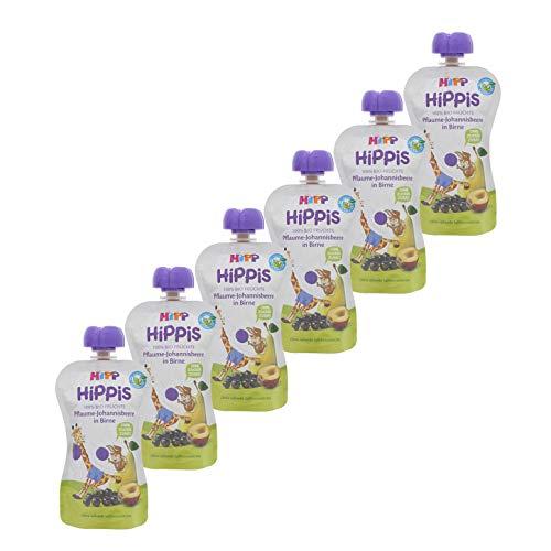 HiPP HiPPiS Quetschbeutel, Pflaume-Johannisbeere in Birne, 100% Bio-Früchte ohne Zuckerzusatz, 6 x 100 g Beutel