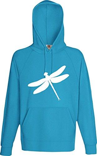 Männer Kaupuzensweatshirt; Tiermotiv Libelle, Dragonfly, Insekt; Farbe Tuerkis, Größe XXL