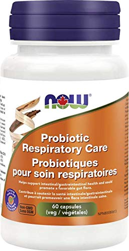 NOW Respiratory Care 2-Strain 12 Billion 60 Veg Capsules (RR)(DF), 60 g