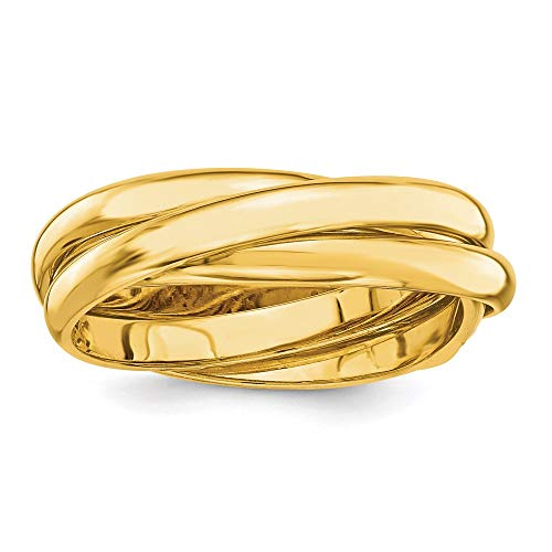 14k Yellow Gold Rolling Band Ring Size 6.50 Wedding Fancy Fine Jewellery For Women Gifts For Her
