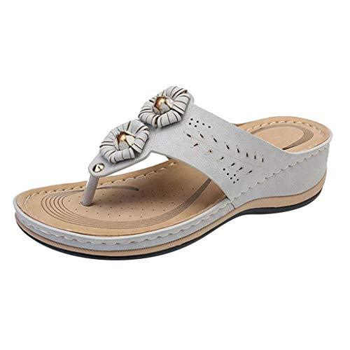 LHWY Chanclas Cuña Mujer Verano Sandalias Plataformas Antideslizantes Casual Zapatos de Playa y Piscina (39EU, Gris)
