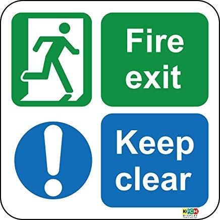 Floor Graphics - Marcador para suelo (vinilo, antideslizante), diseño con texto 'Fire Exit' Ideal para resaltar los posibles peligros en los que los carteles tradicionales no son eficaces, pegatinas de advertencia, etiquetas adhesivas, vinilo autoadhesivo, advertencia de seguridad, pegatinas de advertencia 400 mm x 400 mm