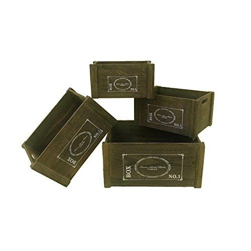 Set 4 Cajas Contenedores Madera oscura Blanco Casa da campo Retro Cocina Bano Dormitorio (Cod. YY20151013)