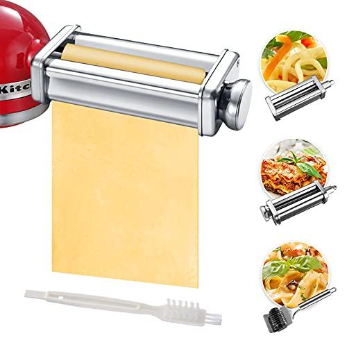 Juego de accesorios para hacer pasta KitchenAid para batidoras de soporte incluido rodillo de enrejado de fideos, cortador de espaguetis, rodillo de pasta y cepillo de limpieza