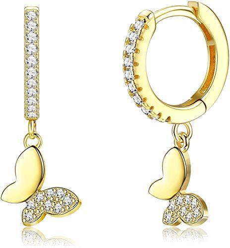 Milacolato - Pendientes de aro hipoalergénicos de plata de ley 925 chapada en oro de 18 quilates para mujer, pequeños y bonitos pendientes de mariposa con circonita cúbica Huggie