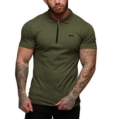 Men's Shirts Sports Fitness Collar Summer Turn-Down Short Sleeves Slim-Fit Tee Top Blouse (M, Green)