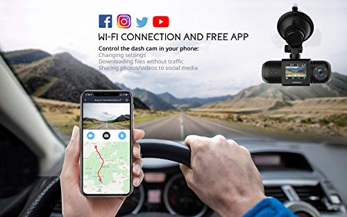Dual Dash Cam, 64GB SD Card Included, 1080P FHD Built-in GPS Wi-Fi, Front and Inside Car Camera Recorder for Uber with Infrared Night Vision, Sony Sensor, 4 IR LEDs,G-Sensor, Parking Mode (Black)