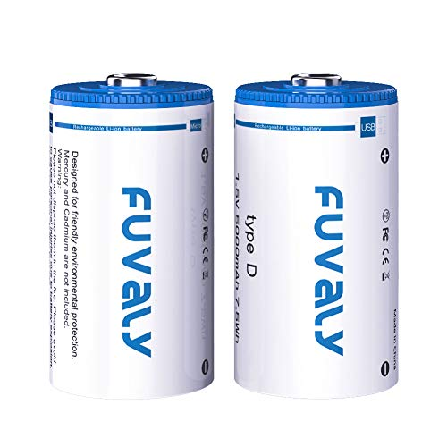 D Cell Batteries USB and Type-C Rechargeable Lithium Ion D Batteries 1.5V 5000mAh with Built-in Safety Protection Chip Fuvaly D-Batteries (2 Pack)