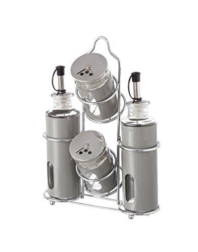 4 Piezas salero y pimentero de dise/ño cl/ásico vinagrera LEYENDAS Juego de aceitera recipientes rellenables