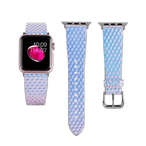 ZLRFCOK Cuero con purpurina para Apple Watch 38mm 40mm 42mm 44mm Bandas Bling Fish Scale Pattern para Apple iWatch Series 5 4 3 2 1 Band Correa de reloj para mujer