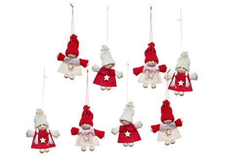 Heitmann Deco Christbaum - Schmuck - Weihnachtswichtel - Mädchen - Jungen - Anhänger - 8er Set - Deko - rot,weiß - ca. 7,5 x 7,4 x 2,5 cm