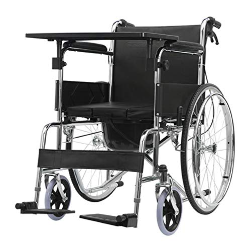 ZRLunyi Rollstuhl mit Begleiterantrieb, tragbarer Toilettenstuhl, multifunktionaler Toilettenstuhl mit weichem Sitzpolster, 220 Pfund Gewichtskapazität, für ältere Menschen, Behinderte, Schwangere