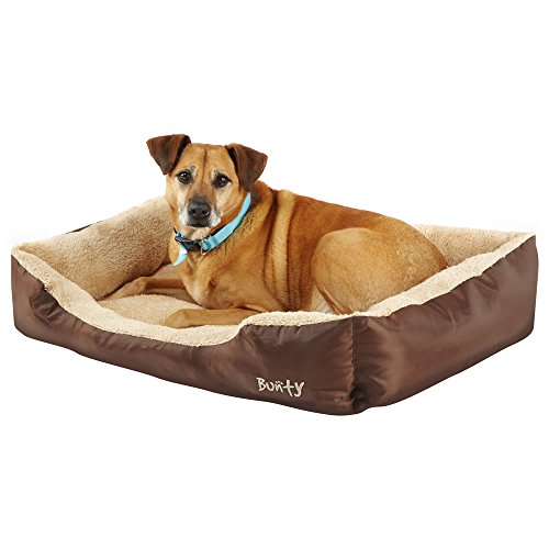 Deluxe Soft Washable Dog Pet Warm Basket Bed Cushion with Fleece Lining - Brown - X-Large