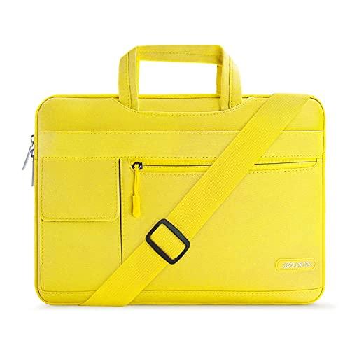 MOSISO Funda Protectora Compatible con MacBook Pro/MacBook Air/Ordenador Portátil 13-13.3 Pulgadas, Bolsa de Hombro Blanda Maletín Bandolera de Estilo Flap,Amarillo
